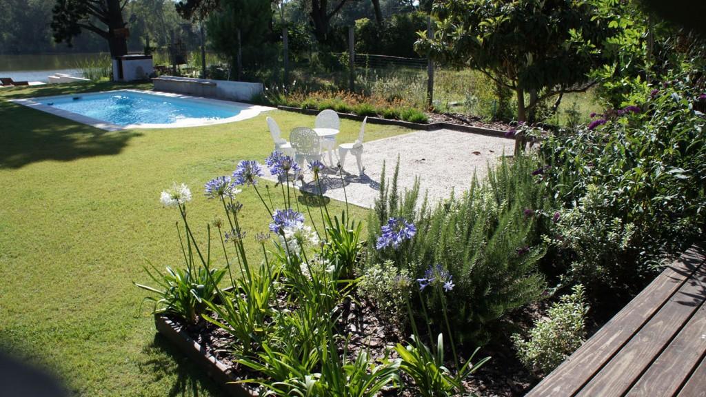 Vistas despejadas y notas de color en los canteros. Contra la casa, agapantos (Agapanthus africanus) azules y blancos; en el límite lateral al lado de la piscina, bulbines (Bulbine frutescens) amarillos y anaranjados